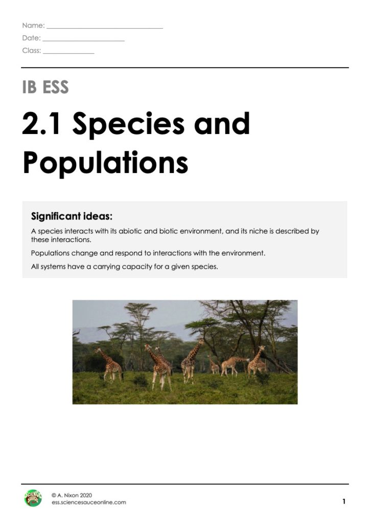 2.1 - Species and Populations | ESS by Science Sauce